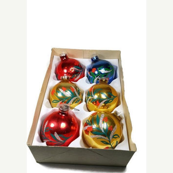 3DAY SALE Christmas Ornaments Vintage Christmas Tree Balls Hand Painted Christmas Tree Ornaments Set of 6