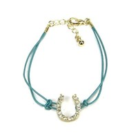 FASHION LUCKY GOLD HORSE SHOE WITH CRYSTALS BRACELET