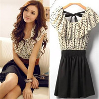 Vintage Women Polka Dot Chiffon Dress