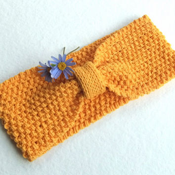 Knit Headband in Yellow Mustard,Cotton Handmade Headband,Spring Headband Turban,Hair Wrap,Knit Women Accessory,Gift for Her,FREE SHIPPING
