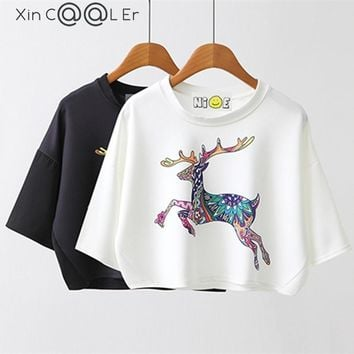 Sexy 2017 Summer Autumn New Leisure Cotton T Shirt Batwing Sleeve Fashion Deer  Animal Print Women Tops Tshirt White Black Tees