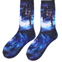 Doctor Who TARDIS Galaxy Crew Socks | Hot Topic