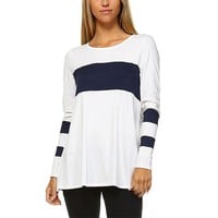 Long Sleeve Navy Blue and White Shirt