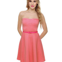 Cute Strapless Dress - Pink Dress - $40.00