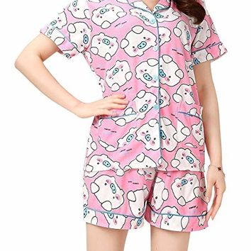 VENTELAN Women's Lovely Pigs Printed Sleepwear Lapel Cardigan Shorts Pajama Sets