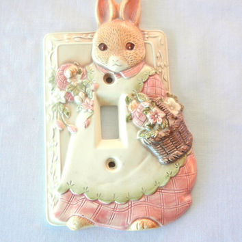 Takahashi Victorian Rabbit Switchplate Light Switch Cover Single Switch, Nursery Decor for Girls, Bunny Pink Dress and Flowers, 90s