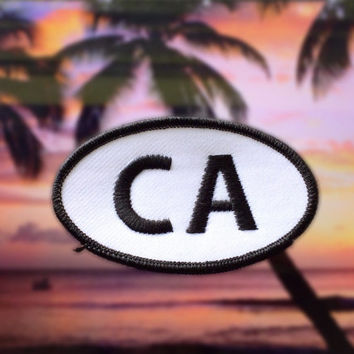 "California CA Patch - Iron or Sew On - 2"" x 3.5"" - Embroidered Oval Appliqué - The Golden State - Black White Hat Bag Accessory Handmade USA"