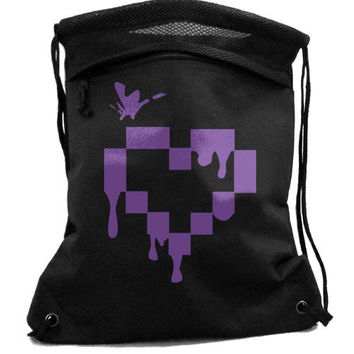 Pixel Heart Backpack pastel goth punk drippy heart retro gamer black drawstring bag scene skater bag shopping tote punk bag