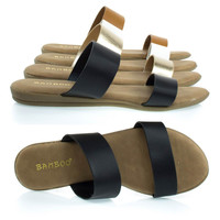 Tamber01 Black By Bamboo, Comfortable Padded Slip On Flat Sandal w Double Straps