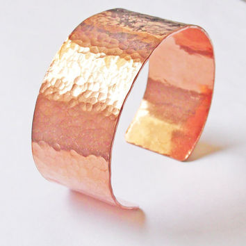Hammered Copper Cuff Bracelet, Hand Forged