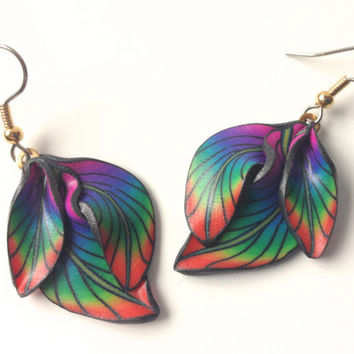 Rainbow earrings Polymer clay earrings Floral earrings Millefiori fairy floral fantasy leaf kato sculpy fimo dangle Polymer clay f