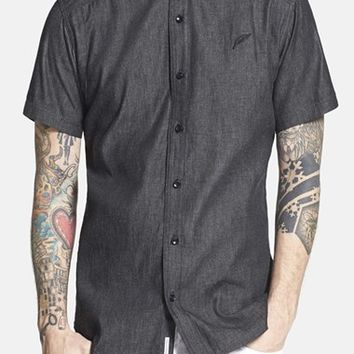 Men's PUBLISH BRAND 'Walker' Trim Fit Short Sleeve Chambray Shirt