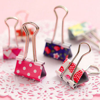6X Flower Printed Metal Binder Clips Notes Letter Paper Clip Office Supplies HU