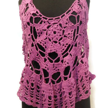 Radiant Orchid tank top size medium, crochet tank top
