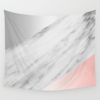 Pink Grey and Marble Collage Wall Tapestry by Cafelab