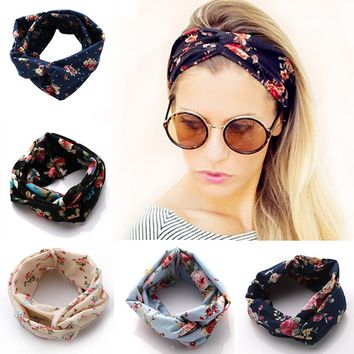 New Fashion Women Hair Band Turban Headband Multicolored Flowers Crossed Elastic Headbands for Women wide hair accessories