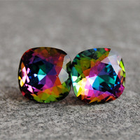 Jewel Tone Rainbow Earrings Jewel Tone Earrings Rare Swarovski Crystal Studs Mashugana