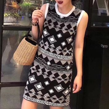 """Chanel"" Women Fashion Personality Multicolor Geometric Letter Sleeveless Vest Dress"