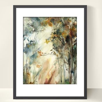 Forest Landscape Watercolor Painting Art Print, Nature Abstract Watercolour Art, Modern Art