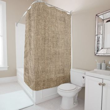 rustic country burlap canvas pattern shower curtain