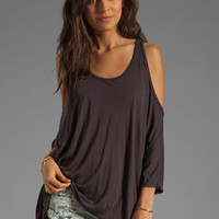 Michael Lauren Morris Oversized Open Shoulder Top in Coal from REVOLVEclothing.com