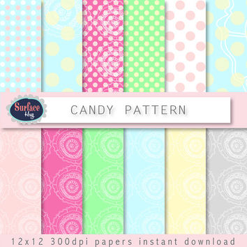 Digital paper CANDY PATTERN background, Candy polka dots, Bright paper, Easter paper, Blue Red Green paper, Scrapbook paper Spring, Floral