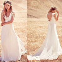 White/Ivory Chiffon Lace Country Wedding Dress Open Back Bridal Dress Gown