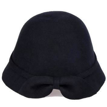 VBIGER Ladies Sloppy Cap Rolled-up Brim Woolen For Women Cloche Hat with Bowknot