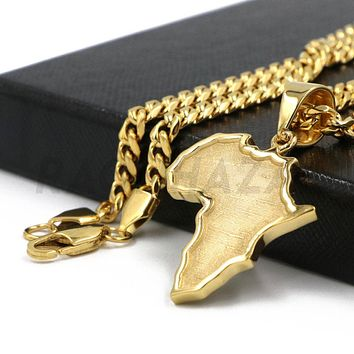 Stainless Steel Solid Gold Africa Map Pendant w/ 5mm Miami Cuban Chain