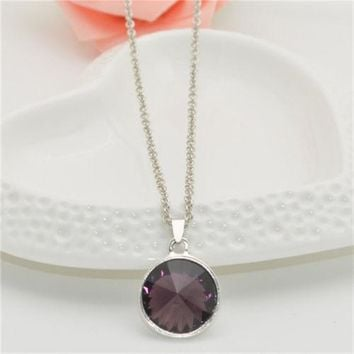 Purple Cabochon Fashion Necklace