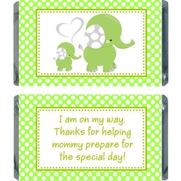 18 Green Elephant Baby Shower Miniature Chocolate Bar Wrappers