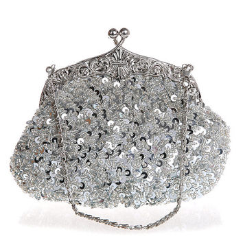 silver brial Clutch purse–- beaded wedding clutch purse-evening bag-hand made