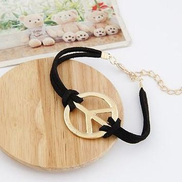 Fashion Jewelry Vintage Gold  Peace Sign  Black Leather Charms Good Luck Braclets Bangles DIY Jewelry Findings Free 10pcs Z1822