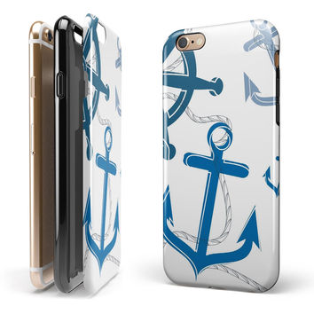 Nautical Anchor Collage 2-Piece Hybrid INK-Fuzed Case for the iPhone 6/6s or 6/6s Plus