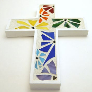 Mosaic Wall Cross, Funky Floral White + Rainbow Handmade Stained Glass Mosaic Design