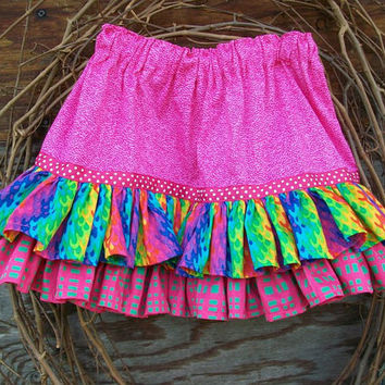 Girls Pink ruffled  skirt with elastic waist, ruffles and ribbon trim, Size 3