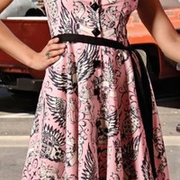 Folter Clothing TOUGH COOKIE COLLARED DRESS in Pink Tattoo Flash Print