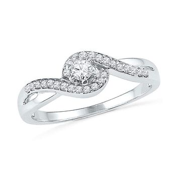 10kt White Gold Women's Round Diamond Solitaire Swirl Promise Bridal Ring 1/5 Cttw - FREE Shipping (US/CAN)