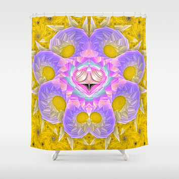 Octopus on Gold Shower Curtain by Awesome Palette | Society6