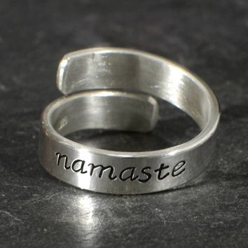 Sterling silver Namaste bypass ring