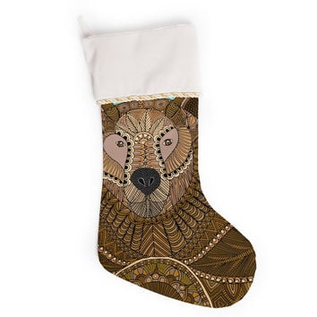 """Art Love Passion """"Bear in Grass"""" Brown Blue Christmas Stocking"""
