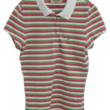 Juicy Couture Polo Shirt Shirt Striped Short Sleeve Collar Sizes T Shirt White, Lime Green And Pink 45% off retail