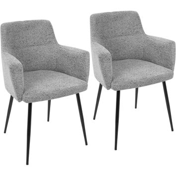 Andrew Contemporary Dining / Accent Chairs, Grey Fabric (Set of 2)
