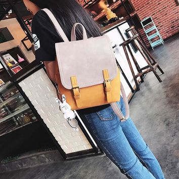 Vintage Women Backpacks PU School Backpacks for Teenage Girls Female Leather Backpack