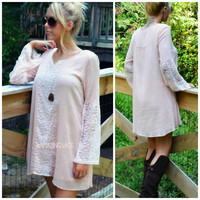 Lace To The Finish Light Pink Shift Dress