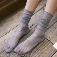 Diamond Sheer Sock | Grey