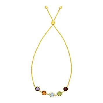 Adjustable Bracelet with Multicolored Medium Round Gemstones in 14K Yellow Gold