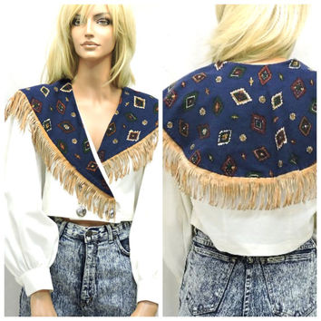 80s southwestern fringe crop top M boho fringed country western cropped blouse 80s long sleeved rodeo cropped blouse SunnyBohoVintage