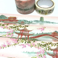 ancient China washi tape 5M x 3cm vintage Pergola retro Gazebo Asian Pavilion pretty building landscape wild tape masking sticker tape decor