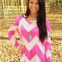 Linda Grace Chevron Top - Pink